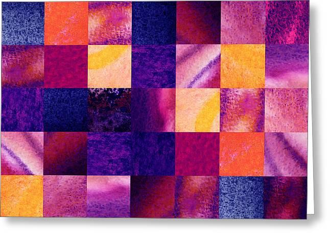 Geometric Design Squares Pattern Abstract Iv Greeting Card by Irina Sztukowski