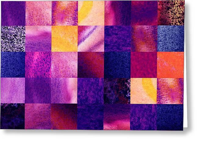 Geometric Design Squares Pattern Abstract V  Greeting Card by Irina Sztukowski