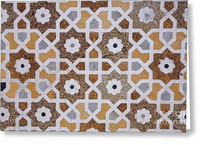 Geometric Design Photographs Greeting Cards - Geometric Designs on the Baby Taj Agra Greeting Card by Robert Preston
