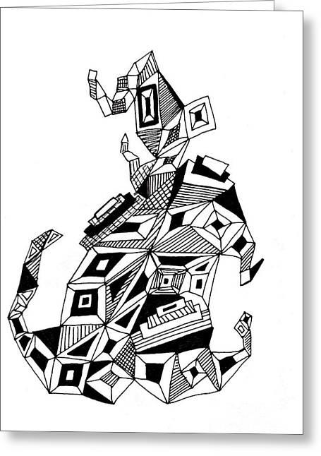 Doodle Art Greeting Cards - Geometric Dog Greeting Card by Sarah Loft