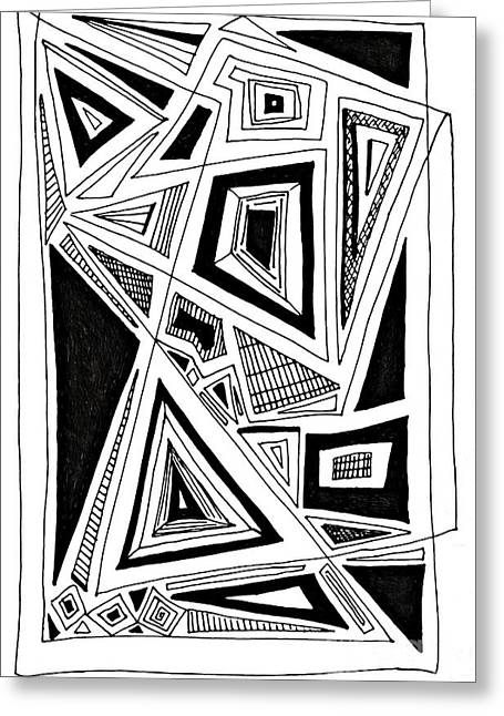 Abstract Geometric Drawings Greeting Cards - Geometric Doodle 2 Greeting Card by Sarah Loft