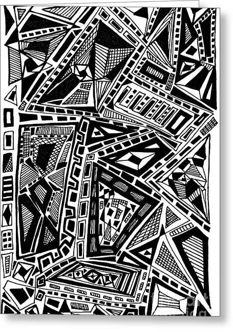 Geometric Doodle Greeting Card by Sarah Loft