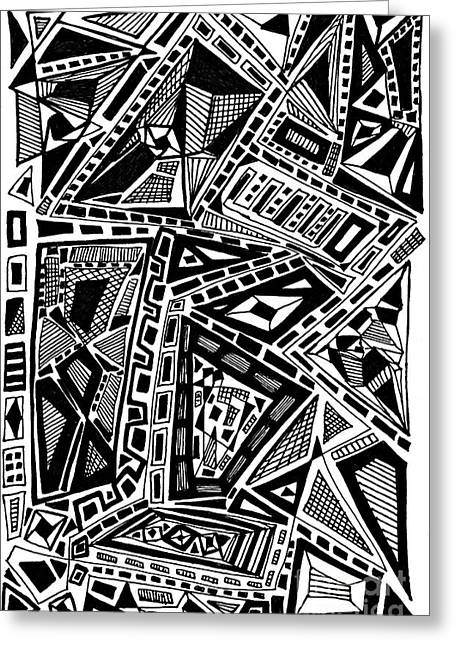 Abstract Geometric Drawings Greeting Cards - Geometric Doodle Greeting Card by Sarah Loft