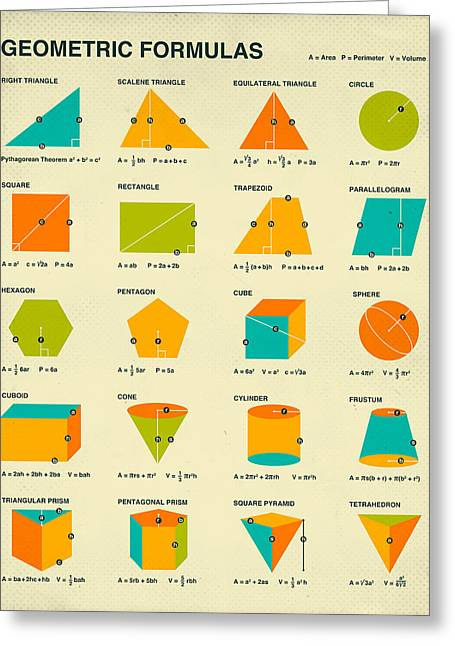 Mathematics Digital Greeting Cards - Geometric Formulas Greeting Card by Jazzberry Blue