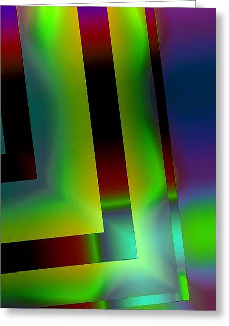 Green Surreal Geometry Greeting Cards - Geometric Glow Green  Greeting Card by Mario  Perez