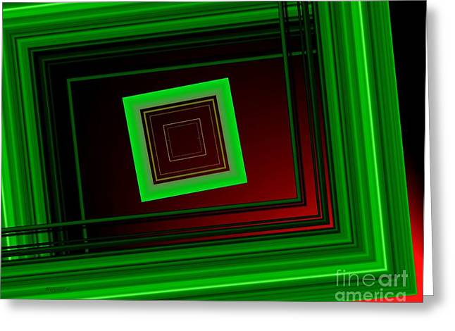 Green Surreal Geometry Greeting Cards - Geometric Green Art Greeting Card by Mario  Perez