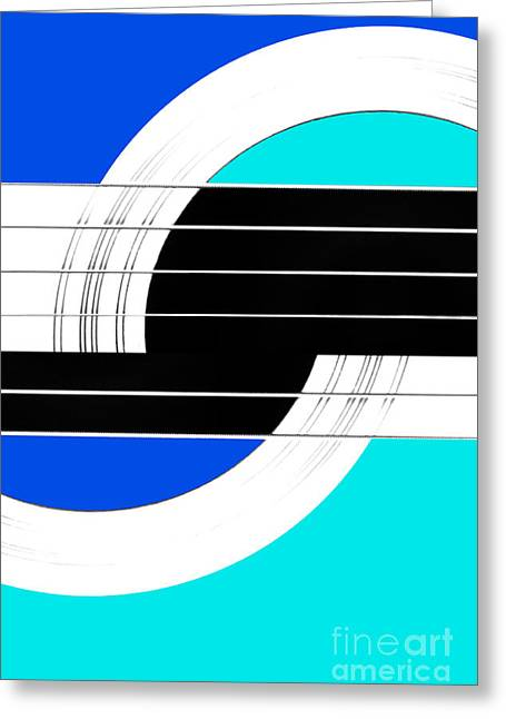Lounge Digital Art Greeting Cards - Geometric Guitar Abstract II in Blue Turquoise Black White Greeting Card by Natalie Kinnear