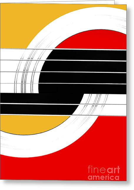Lounge Digital Art Greeting Cards - Geometric Guitar Abstract II in Orange Red Black White Greeting Card by Natalie Kinnear