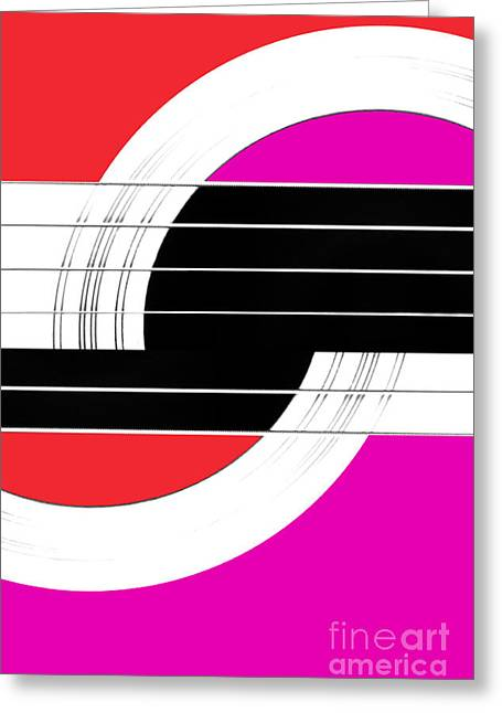 Lounge Digital Art Greeting Cards - Geometric Guitar Abstract II in Red Pink Black White Greeting Card by Natalie Kinnear