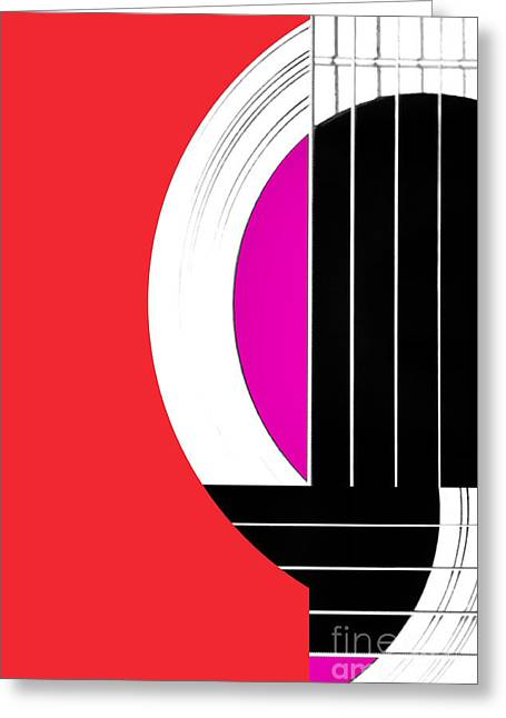 Geometric Lines Greeting Cards - Geometric Guitar Abstract in Red Pink Black White Greeting Card by Natalie Kinnear