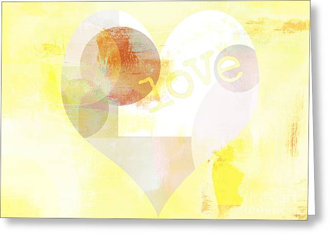 Gilding Greeting Cards - Geometric Heart Love Yellow Print Greeting Card by Anahi DeCanio