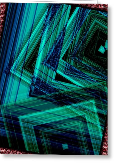 Green Surreal Geometry Greeting Cards - Geometric in Green Greeting Card by Mario  Perez