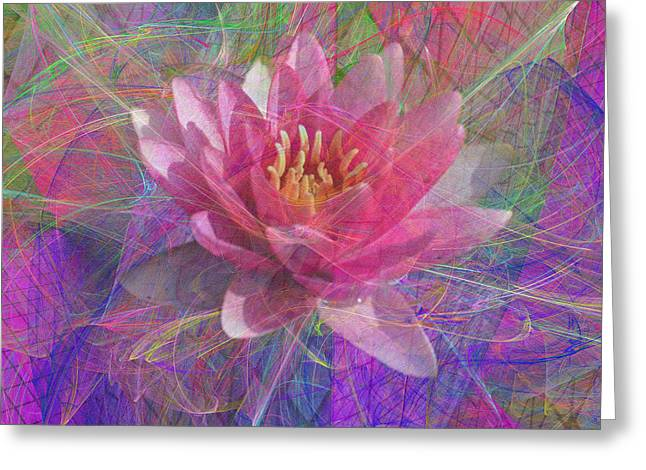 Impressionist Greeting Cards - Geometric Lotus Greeting Card by Diane Parnell