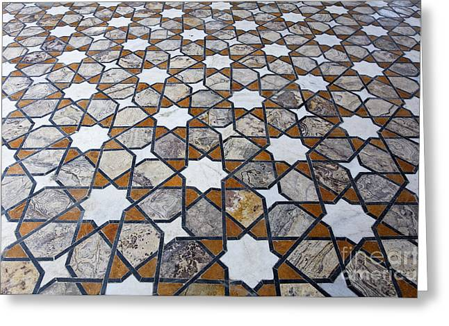 Geometric Design Greeting Cards - Geometric Marble Floor Design at Lahore Fort Greeting Card by Robert Preston