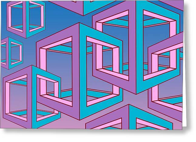 Surreal Geometric Greeting Cards - Geometric  Greeting Card by Mark Ashkenazi