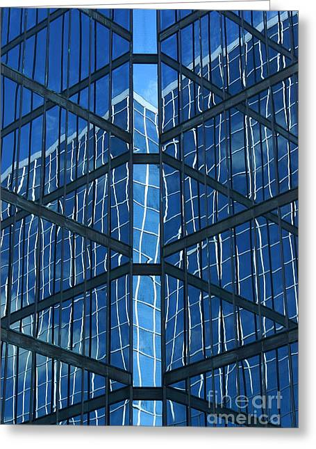 Reflecting Buildings Greeting Cards - Geometric Reflection Greeting Card by Aimelle