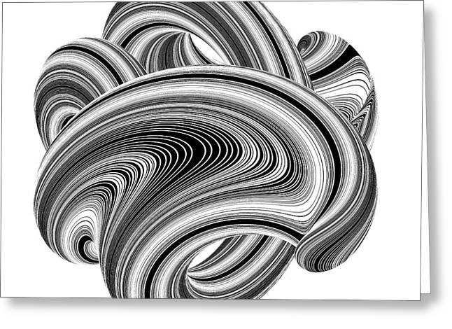 Illustration Sculptures Greeting Cards - Geometric Twisted Wave Black and White Shape Greeting Card by Nenad  Cerovic