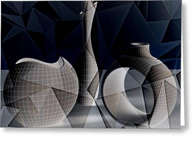 Lynda Payton Greeting Cards - Geometric Vases Greeting Card by Lynda Payton