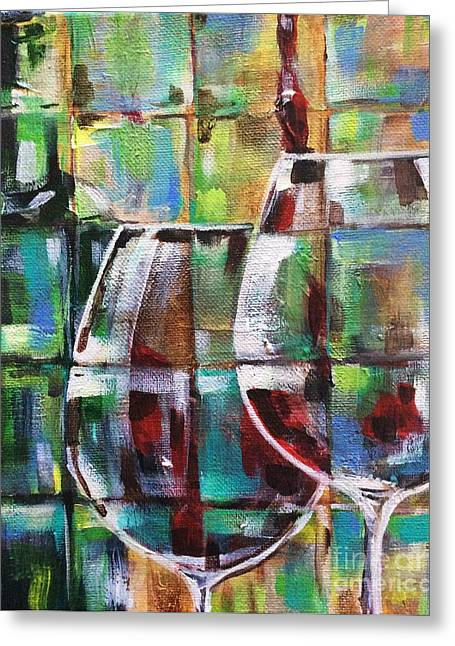 Wine Pouring Paintings Greeting Cards - Geometric Wine 2 Greeting Card by Lisa Owen-Lynch
