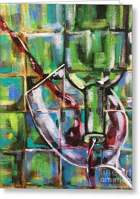 Wine Pouring Greeting Cards - Geometric Wine 3 Greeting Card by Lisa Owen-Lynch