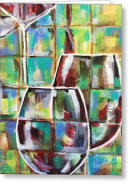 Wine Pouring Paintings Greeting Cards - Geometric Wine 4 Greeting Card by Lisa Owen-Lynch
