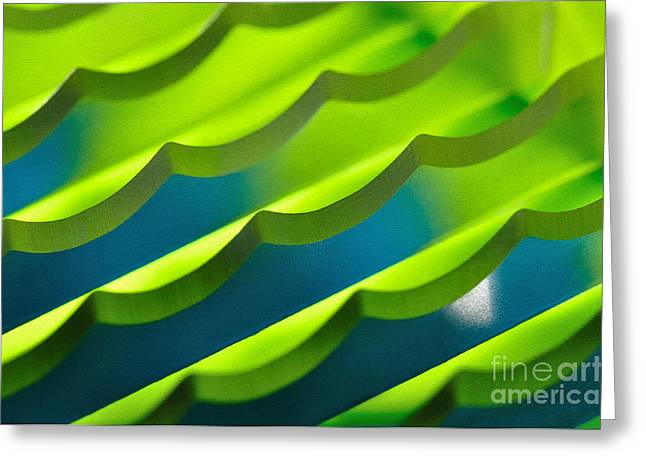 Green And Yellow Abstract Greeting Cards - Geometrical Colors and Shapes 3 Greeting Card by Kaye Menner