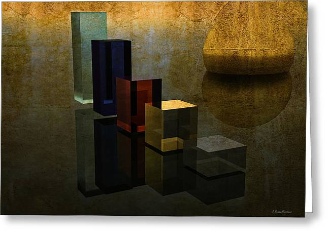 Abstract Digital Digital Art Greeting Cards - Geometries and reflections Greeting Card by Ramon Martinez