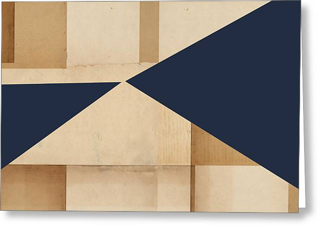 Beige Abstract Greeting Cards - Geometry Indigo Number 4 Greeting Card by Carol Leigh