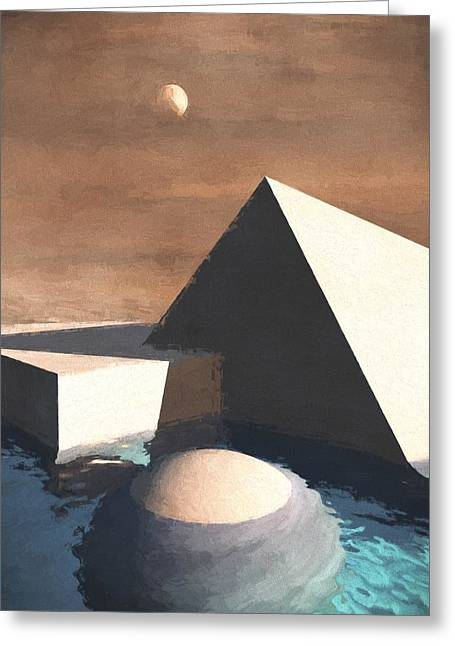 Pyramids Mixed Media Greeting Cards - Geometry Pool Greeting Card by Richard Rizzo
