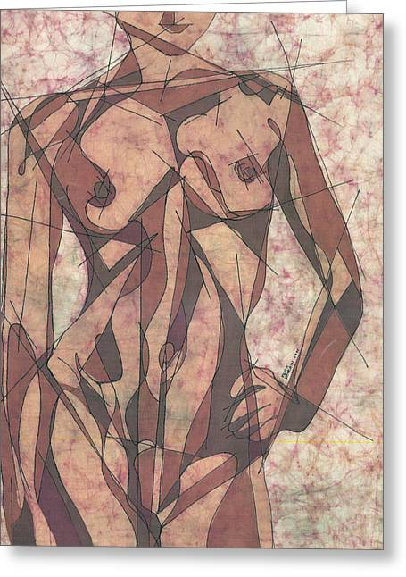 Nude Tapestries - Textiles Greeting Cards - Geometry Problems Greeting Card by Kevin Houchin