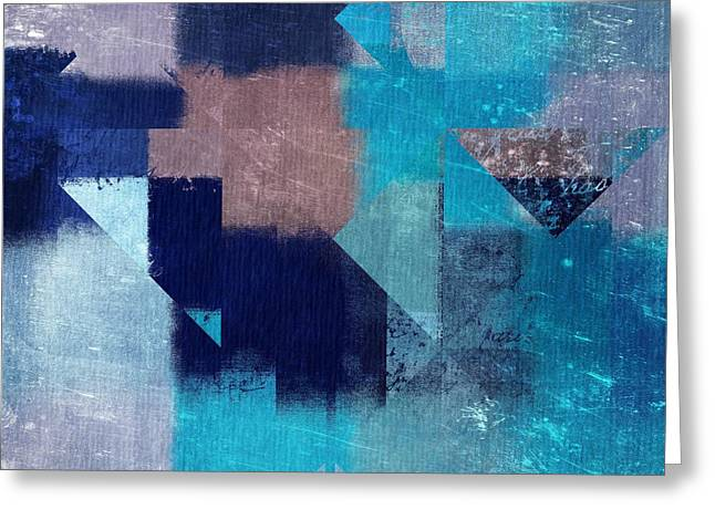 Blue Abstracts Greeting Cards - Geomix 04 -05ac9t28a Greeting Card by Variance Collections