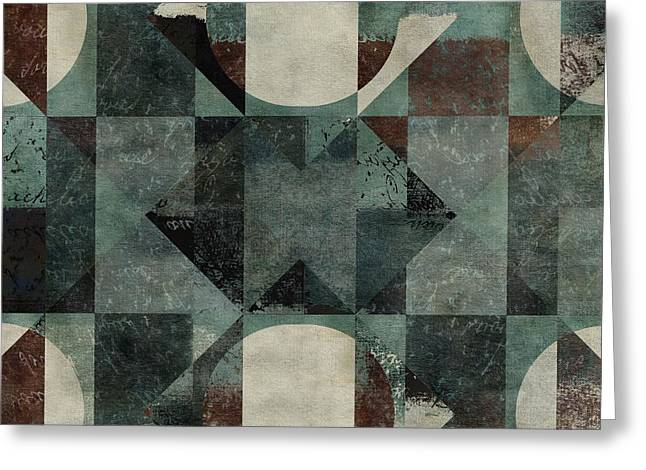 Green Abstract Greeting Cards - Geomix 04 -39c8at2d Greeting Card by Variance Collections