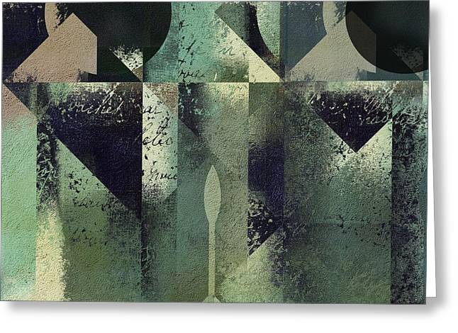Green Abstract Design Greeting Cards - Geomix 04 - 56at22b2e Greeting Card by Variance Collections