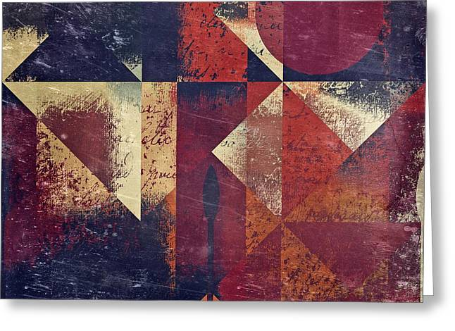 Abstract Series Digital Art Greeting Cards - Geomix 04 - 63bv2-t7c Greeting Card by Variance Collections
