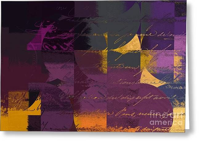 Purple Abstract Greeting Cards - Geomix 07 - 064097167 Greeting Card by Variance Collections