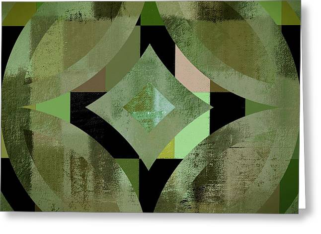 Green Geometry Art Greeting Cards - Geomix 12 - 01gbl3j4994100 Greeting Card by Variance Collections