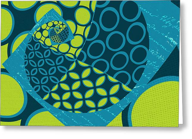 Turquoise Blue Greeting Cards - Geomix 14 - sp01 Greeting Card by Variance Collections