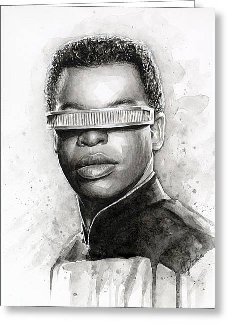 Watercolor Portrait Greeting Cards - Geordi La Forge - Star Trek Art Greeting Card by Olga Shvartsur