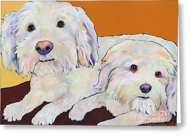Pat Saunders-white Greeting Cards - George and Henry Greeting Card by Pat Saunders-White