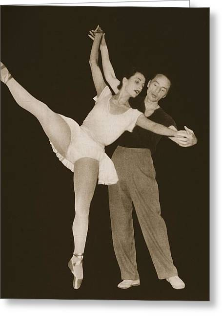 40s Paintings Greeting Cards - George Balanchine With Tamara Greeting Card by French Photographer