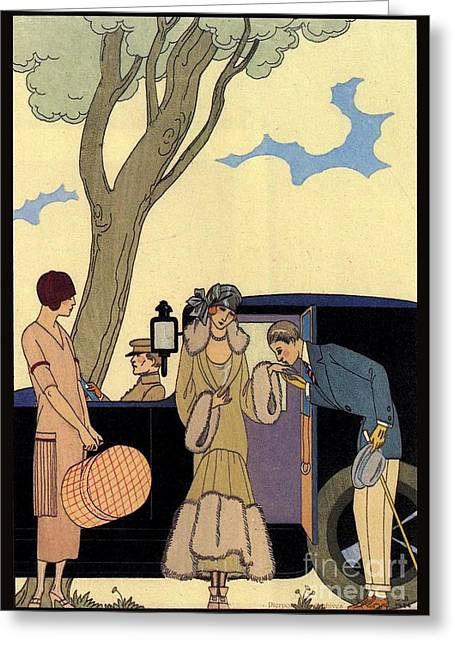 Posh Drawings Greeting Cards - George Barbier. Arrival of a fashionable Lady Greeting Card by Pierpont Bay Archives