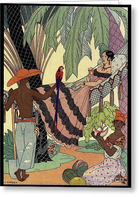 Watermelon Drawings Greeting Cards - George Barbier. Spanish lady in hammoc with parrot.  Greeting Card by Pierpont Bay Archives