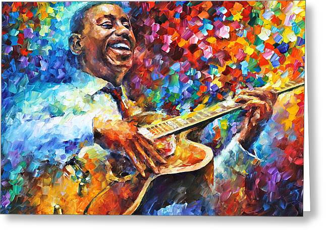 African-american Paintings Greeting Cards - Wes Montgomery Greeting Card by Leonid Afremov