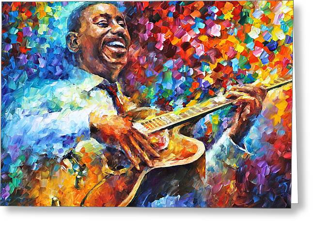 American Musician Greeting Cards - Wes Montgomery Greeting Card by Leonid Afremov