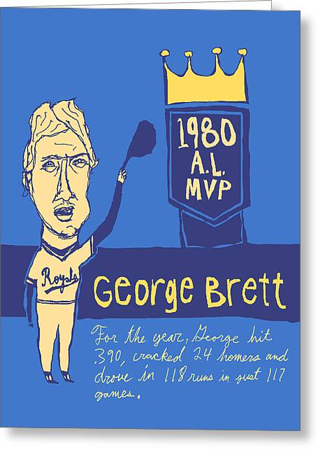 Baseball Art Greeting Cards - George Brett KC Royals Greeting Card by Jay Perkins