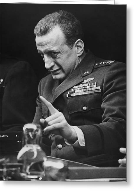 Worry Greeting Cards - George C. Scott in Dr. Strangelove or: How I Learned to Stop Worrying and Love the Bomb  Greeting Card by Silver Screen
