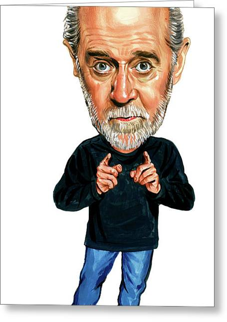 Paintings Greeting Cards - George Carlin Greeting Card by Art