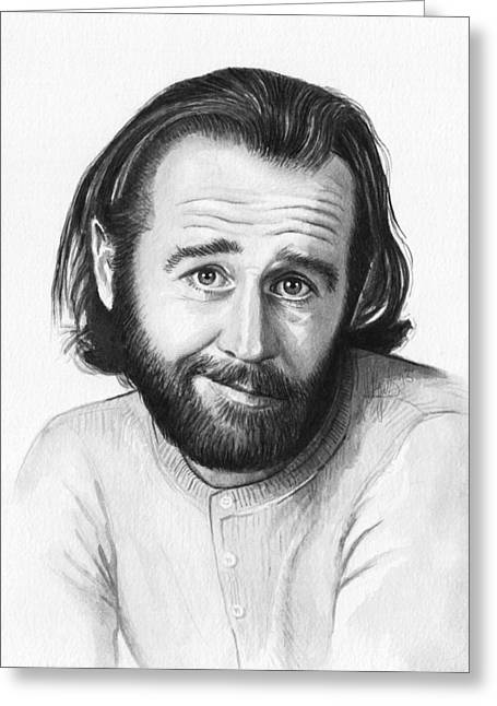 Black And White Print Greeting Cards - George Carlin Portrait Greeting Card by Olga Shvartsur
