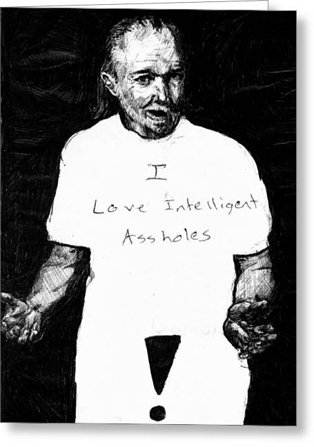 Kd Greeting Cards - George Carlin Portrait Sketch Greeting Card by Kd Neeley