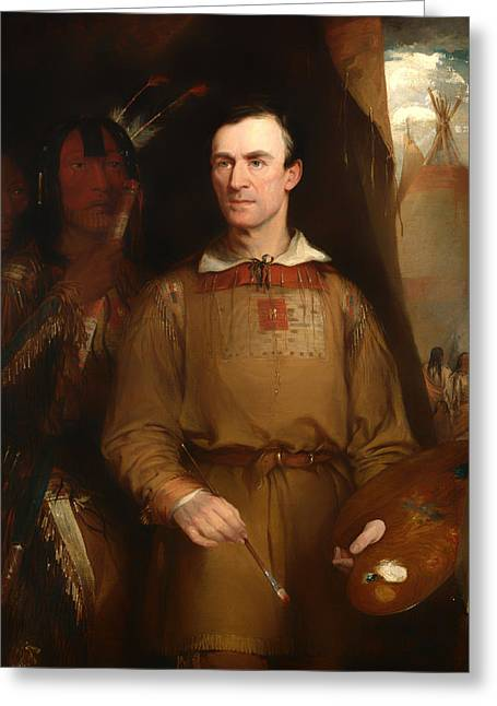 Vintage Painter Greeting Cards - George Catlin Greeting Card by William Fisk